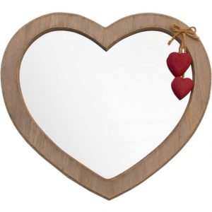 Wooden Heart Shaped Wall Mirror With Decorative Red Hearts