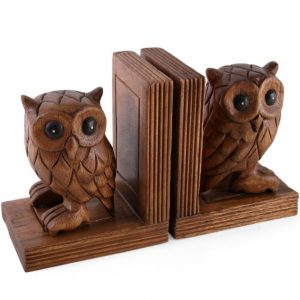 Wooden bookends with handcarved decorative owls
