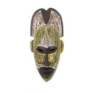 White & Yellow Tribal Baule Hanging Masks