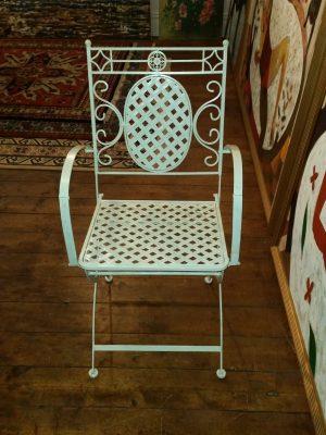 Cream Lattice Armchair - Striaght On View