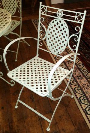 Folding Armchair - Cream Lattice Metal Garden Furniture - Ferailles