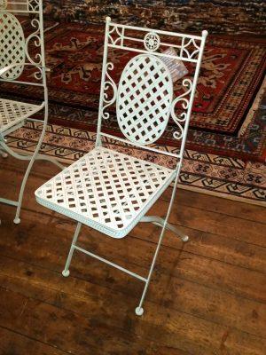 Folding Side Chair - Cream Lattice Metal Garden Furniture - Ferailles
