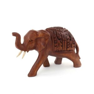 Ornate Carved Wooden Decorative Elephant