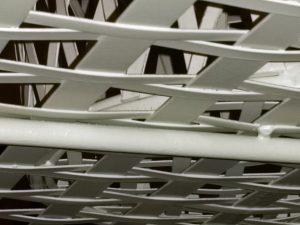 Underneath The Lattice Work. Shows Table & Baskets.