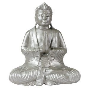 Solid Handcarved 30cm Wooden Sitting Buddha - Silver Finish - PRAYING.