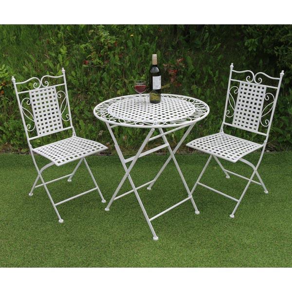 White Fretwork Metal Table Chair Set 1x Table 2x Folding