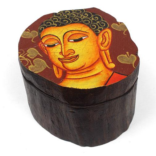 Handpainted Round Wooden Buddha Box With Sliding Lid