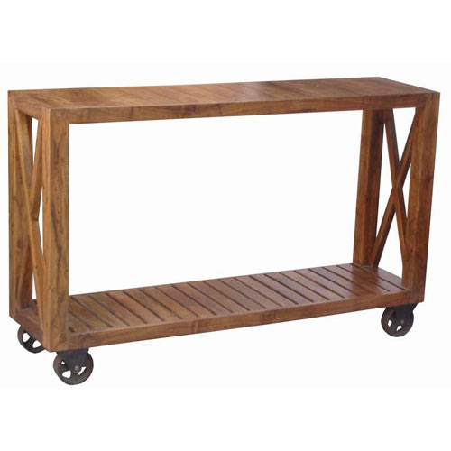 Acacia Wood Industrial Style Console Table On Wheels