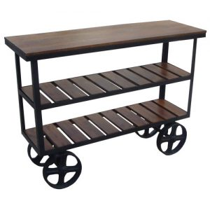 industrial-style-bid-wheeled-wooden-acacia-console-table