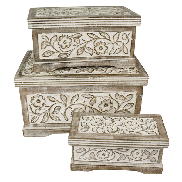 Mango Wood Set Of 3 Chests With Carved Flowers Ferailles