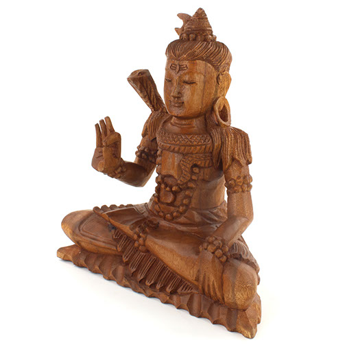 Wooden Sitting Carved Lord Shiva Medium Ferailles