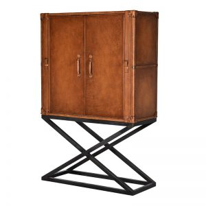 contemporary-tan-leather-drinks-cabinet