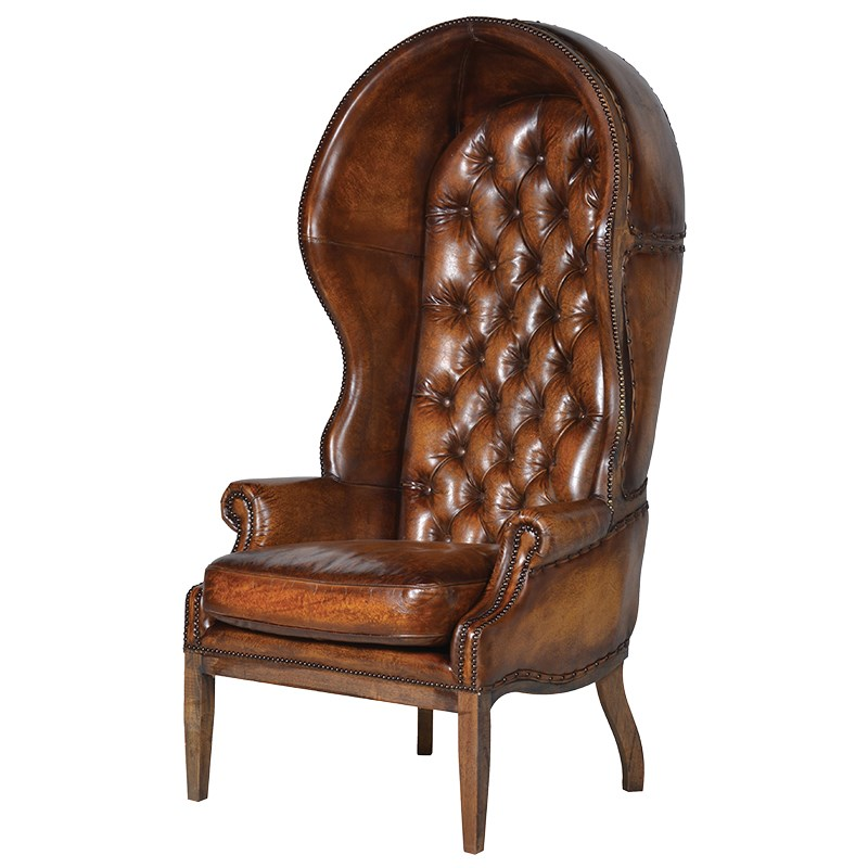 Traditional Classic Leather Porter's Armchair | Ferailles