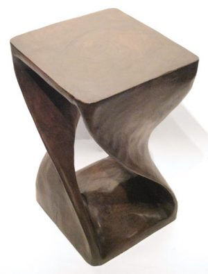 Contemporary Wooden Twist Carved Stool 2