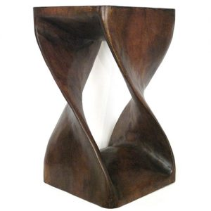Contemporary Wooden Twist Carved Stool Side Table
