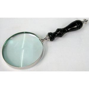 Magnifying Glass with Handle Turned Wooden Handle - Small