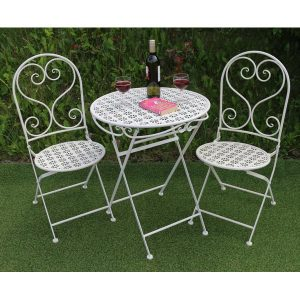 White Metal 2 Chairs 1 Table Round Flowers SET