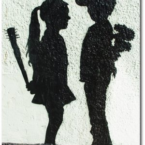 Girl with Stick - Banksy Greeting Card