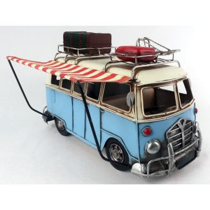 VW Style Ornamental Blue Camper Van with Canopy