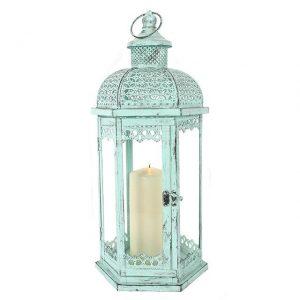 Rustic Green Large Hanging Standing Lantern Lamp