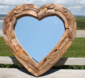Teak Root Heart Mirror. Large 90x90