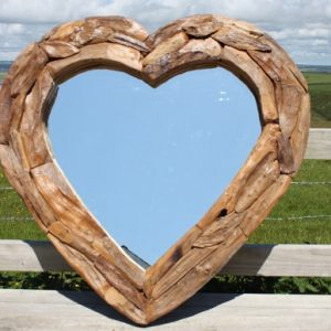 Teak Root Heart Mirror. Large 90x90