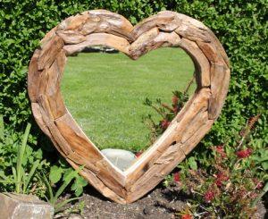Teak Root Heart Mirror. Medium 66x66