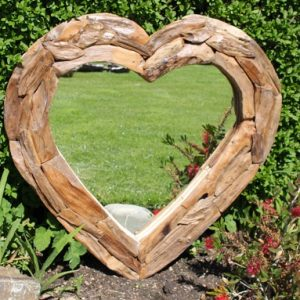 Teak Root Heart Mirror. Medium 66x66