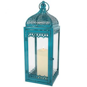 Turquoise African Style Lantern - Large