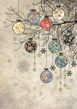 Bauble Branches - Bug Art Christmas Card
