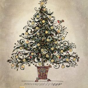 Black Chintz Tree - Bug Art Christmas Card - DC017