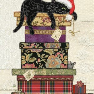 Cat Presents - Bug Art Christmas Card - Ac001