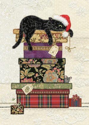 Cat Presents - Bug Art Christmas Card - Ac001
