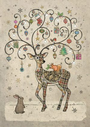 Decorated Deer - Bug Art Christmas Card - DC023