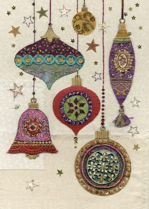 Ornate Baubles - Bug Art Christmas Card - AC008