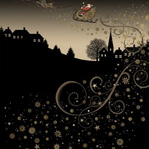 Rooftop Sleigh - Bug Art - Christmas Card