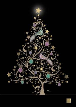 Star Tree Birds - Bug Art Christmas Card