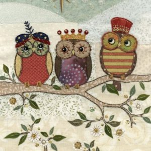 Three Wise Owls - Bug Art Christmas Card - AC003