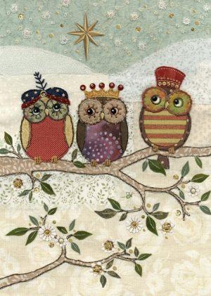 Three Wise Owls - Bug Art Christmas Card - AC003