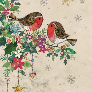 Two Robins - Bug Art - Christmas Card