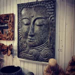XL resin buddha plaque hanging