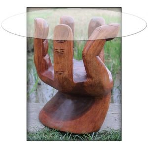 Suar Wood Hand Table with Glass Top