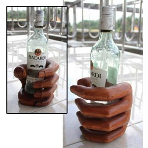 Wooden Hand Bottle Holder. Dark Finish