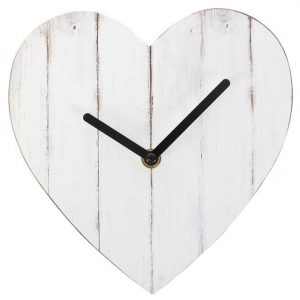 Heart Clock. White Wash - Small