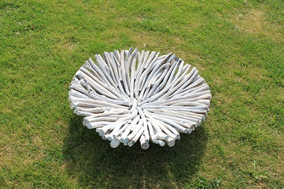 Driftwood Round Bowl. White Painted Finish