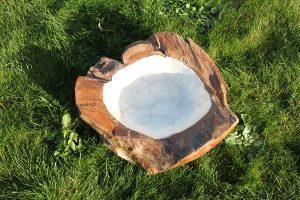 Pearl Lined Teak Root Bowl - Medium