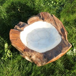 Pearl Lined Teak Root Bowl - Medium