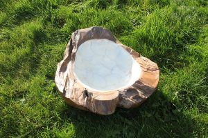 Pearl Lined Teak Root Bowl - Small