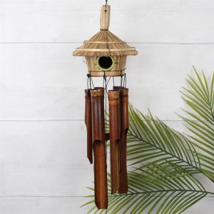 Bamboo Straw Wind Chime with hut