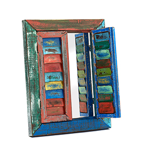 Colourful Teak Hanging Mirror with 2 Shutter Doors